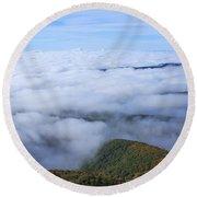 Blue Ridge Fog Round Beach Towel