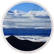 Blue Ridge Fog-north Carolina Round Beach Towel