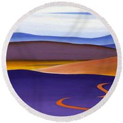 Blue Ridge Orange Mountains Sky And Road In Fall Round Beach Towel