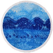 Blue Ridge Original Painting Round Beach Towel