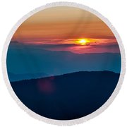 Blue Ridge Parkway Autumn Sunset Over Appalachian Mountains  Round Beach Towel