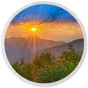 Blue Ridge Parkway Late Summer Appalachian Mountains Sunset West Round Beach Towel