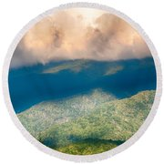 Blue Ridge Parkway Scenic Mountains Overlook Summer Landscape Round Beach Towel