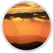 Blue Ridge Parkway Sunset-north Carolina Round Beach Towel