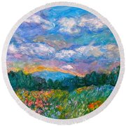 Blue Ridge Wildflowers Round Beach Towel