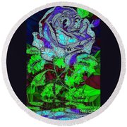 Blue Rose In Glass Round Beach Towel