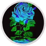 Blue Rose In The Rain Round Beach Towel