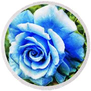 Blue Rose With Brushstrokes Round Beach Towel