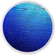 Blue Sand Abstract Round Beach Towel