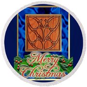 Blue Satin Merry Christmas Round Beach Towel