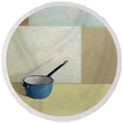 Blue Saucepan Round Beach Towel