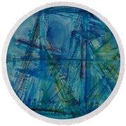 Blue Schooner Pen & Ink With Wc On Paper Round Beach Towel