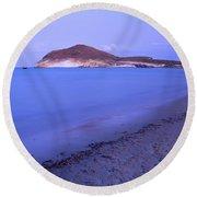 Blue Sea At Sunset Round Beach Towel