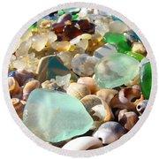 Blue Seaglass Beach Art Prints Shells Agates Round Beach Towel