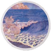 Blue Seascape Wave Effect Round Beach Towel