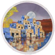 Blue Serpent Pueblo Round Beach Towel by Jerry McElroy
