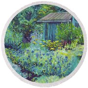 Blue Shed Round Beach Towel