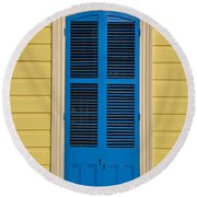 Blue Shutter Door - New Orleans Round Beach Towel