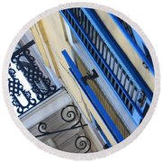Blue Shutters In New Orleans Round Beach Towel
