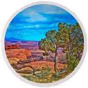Blue Skies And Canyons Round Beach Towel
