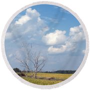 Blue Skies And Trees Round Beach Towel