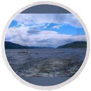 Blue Skies At Loch Ness Round Beach Towel