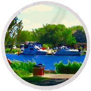 Blue Skies Boats And Bikes Montreal Summer Scene The Lachine Canal Seascape Art Carole Spandau Round Beach Towel