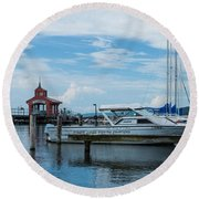 Blue Skies Over Seneca Lake Marina Round Beach Towel