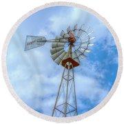 Blue Sky Aermotor Windmill Round Beach Towel