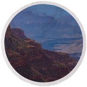 Blue Sky And Red Mountains Round Beach Towel