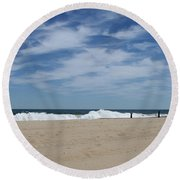 Blue Sky And Waves Round Beach Towel