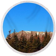 Blue Sky - Cliff - Trees Round Beach Towel