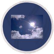 Blue Sky Clouds And Sunshine Round Beach Towel