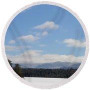 Blue Sky Day In The Adirondacks Round Beach Towel
