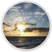 Blue Sky Sunrise Round Beach Towel