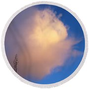 Blue Sky Sunset And Agave Round Beach Towel