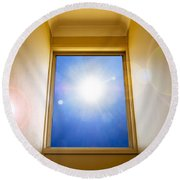 Blue Sky Window Round Beach Towel
