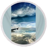 Blue Sky Wing Round Beach Towel