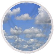 Blue Sky With Cumulus Clouds Day Usa Round Beach Towel