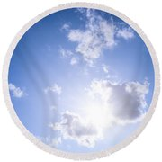 Blue Sky With Sun And Clouds Round Beach Towel