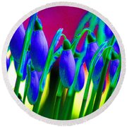 Blue Snowdrops Round Beach Towel