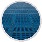 Blue Solar Panel Collector View Round Beach Towel