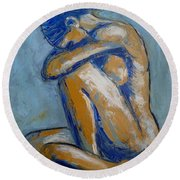 Blue Soul - Female Nude Round Beach Towel