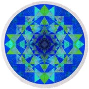 Blue Sri Yantra Variation Round Beach Towel