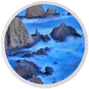 Blue Sunset At The Mermaid Reef Round Beach Towel