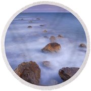 Blue Sunset At The Rocks Round Beach Towel