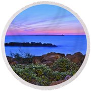 Blue Sunset Round Beach Towel by Frozen in Time Fine Art Photography
