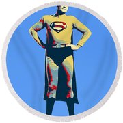 Blue Superman Round Beach Towel