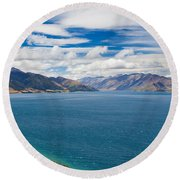 Blue Surface Of Lake Hawea In Central Otago Of New Zealand Round Beach Towel