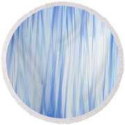Blue Swoops Vertical Abstract Round Beach Towel